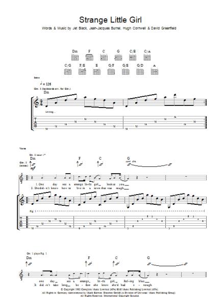 Strange Little Girl Sheet Music | The Stranglers | Guitar Tab