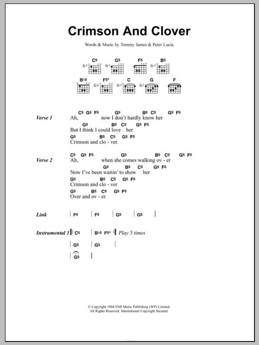Crimson And Clover Sheet Music Joan Jett Lyrics Amp Chords