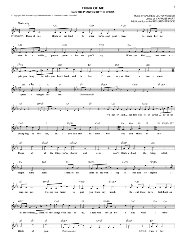 Think Of Me   Sheet Music Direct