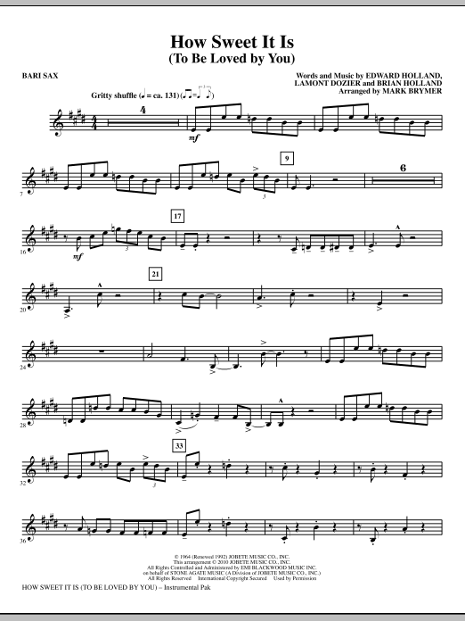 Download How Sweet It Is (To Be Loved By You) - Baritone Sax ...