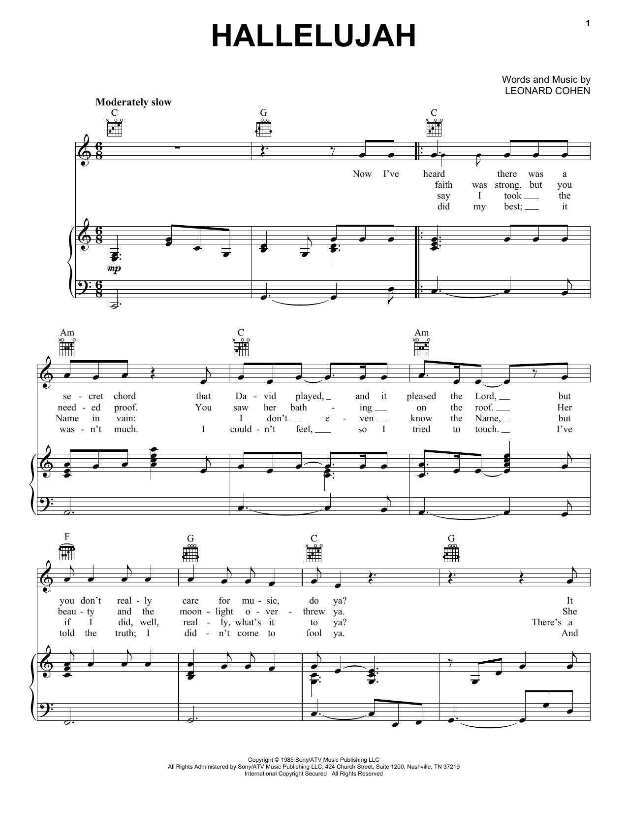 Hallelujah Leonard Cohen Sheet Music Free