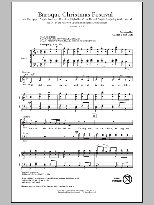 Baroque Christmas Festival Medley Sheet Music Direct