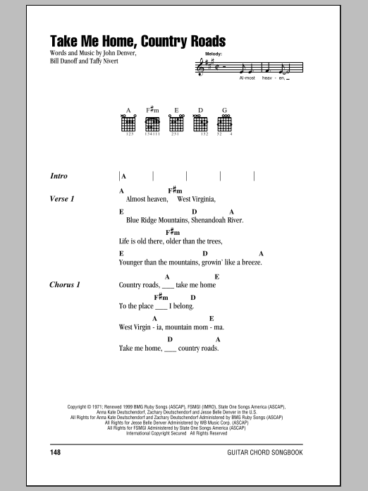 Take Me Home Country Roads Sheet Music Direct