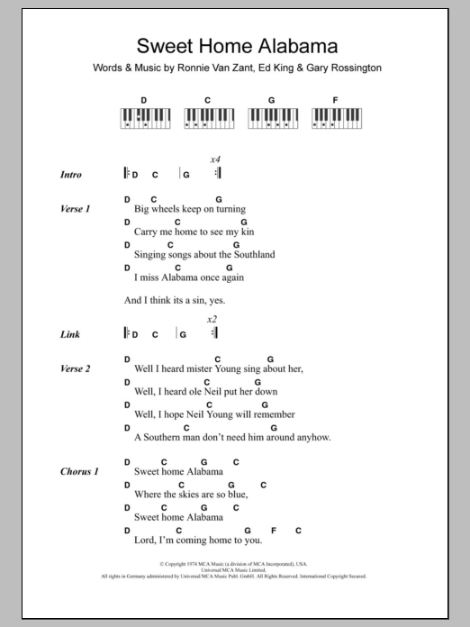 Again, these guitar parts are split into chords then a riff as shown. Sweet Home Alabama Sheet Music Lynyrd Skynyrd Piano Chords Lyrics