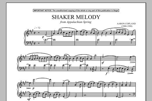 Aaron Copland - Appalachian Spring (Shaker Melody) sheet music