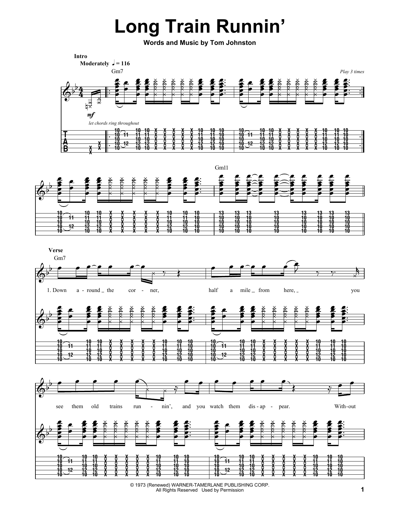 Long Train Runnin Sheet Music