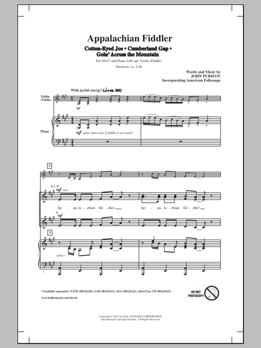 John Purifoy - Appalachian Fiddler (Medley) sheet music