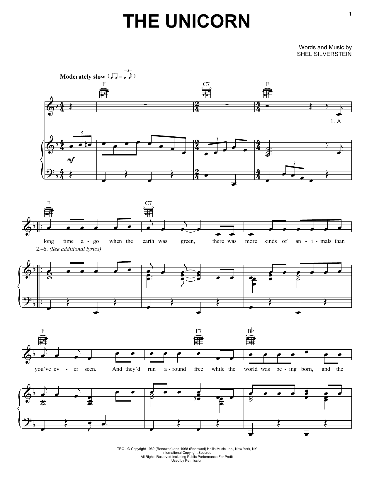 Unicorn Song Sheet Music