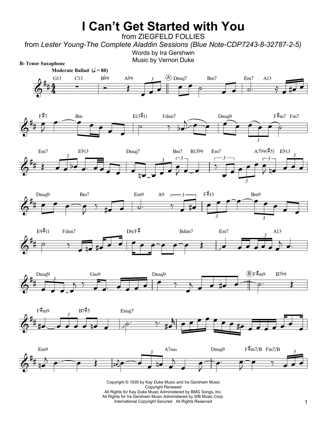 I Can T Get Started Sheet Music