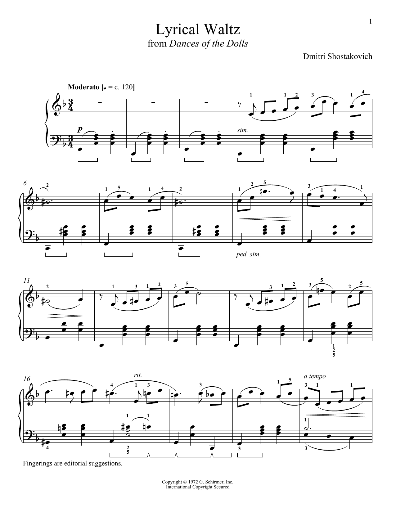 Dmitri Shostakovich Waltz 2 Violin 1
