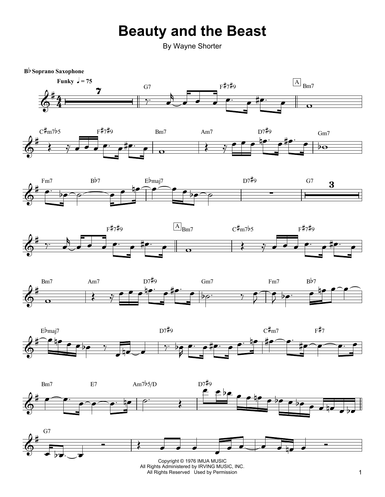 Beauty And The Beast Sheet Music By Wayne Shorter Soprano