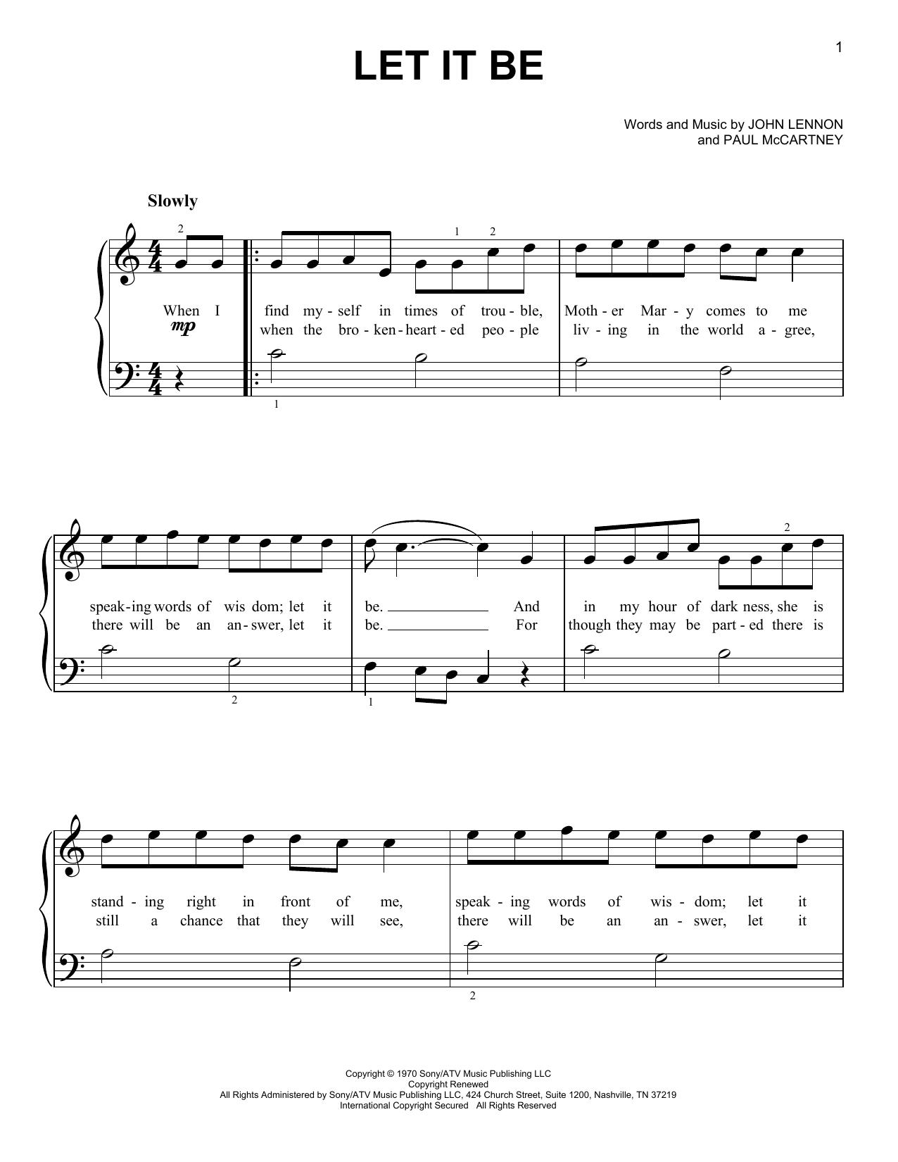 Beatles Beginner Piano Sheet Music Free