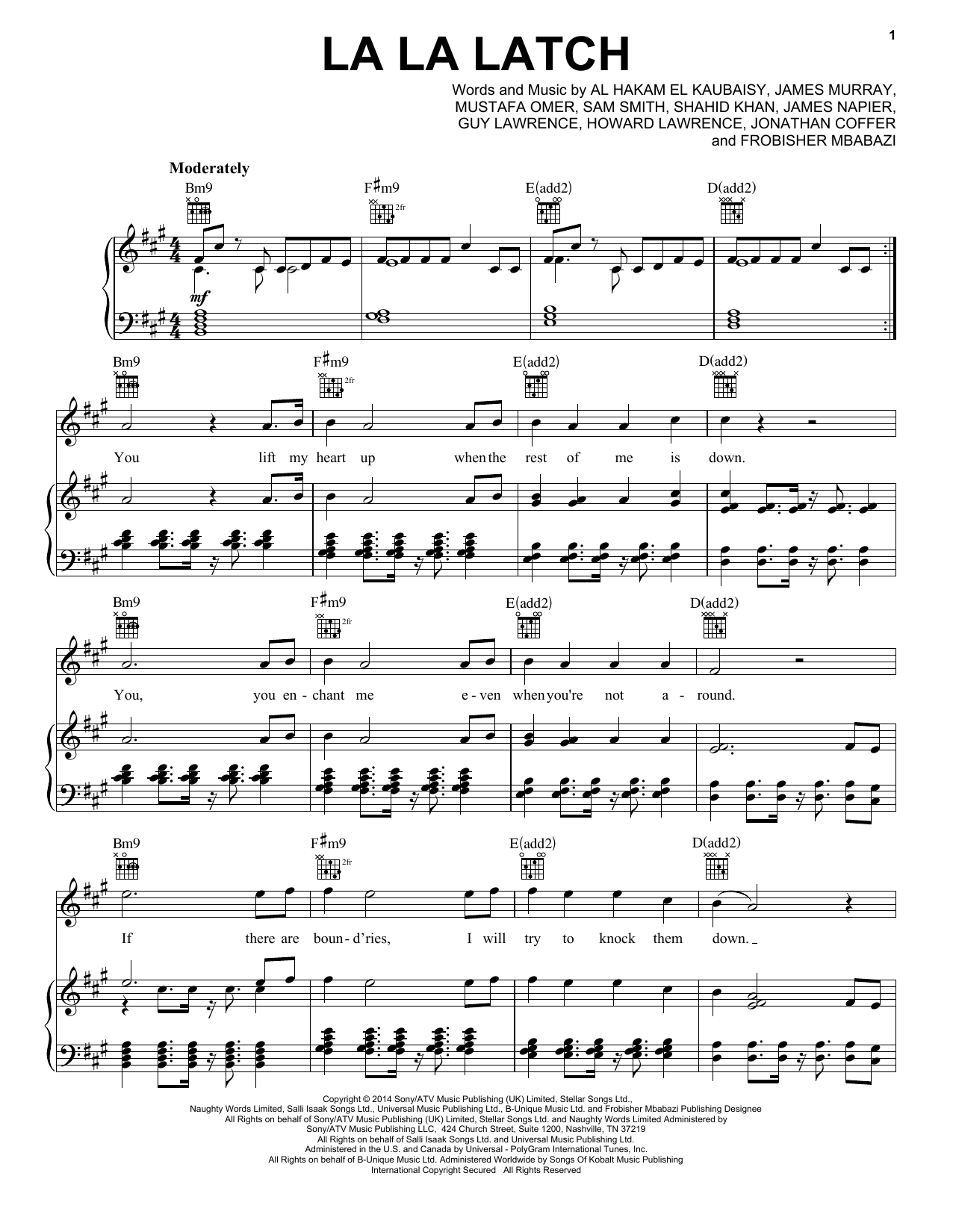 Pentatonix La La Latch Sheet Music