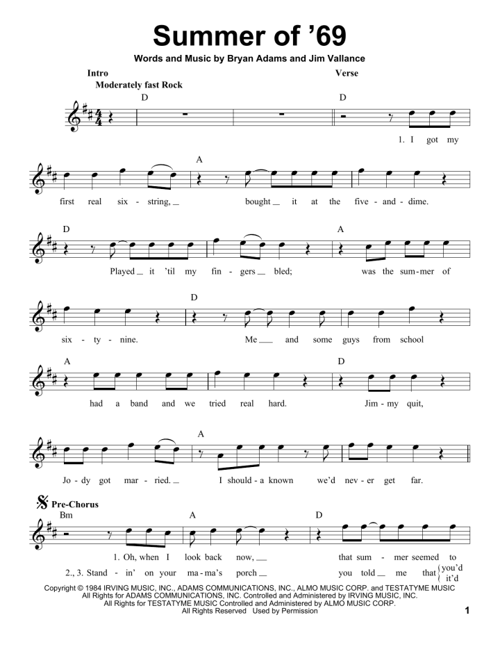Summer Of 69 Chords Bass Tab Traveltourswall