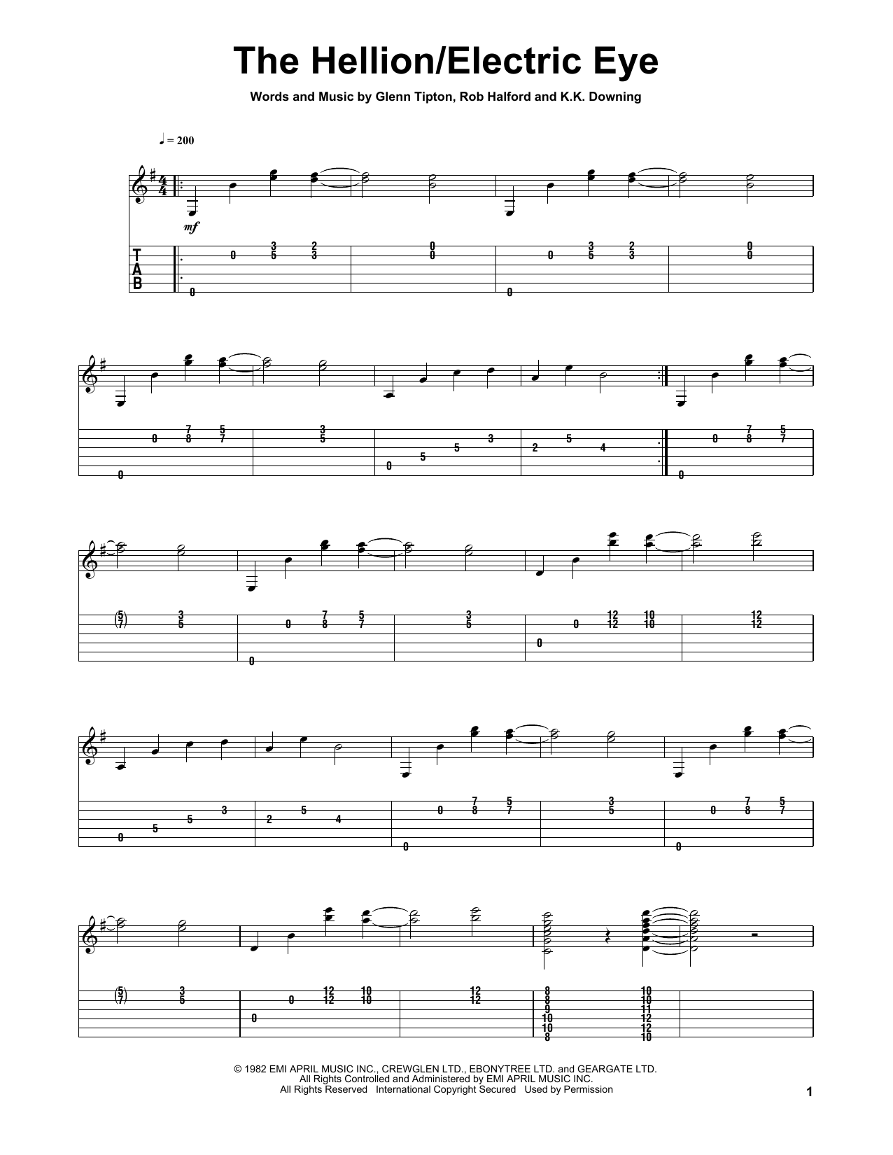 Electric Eye Guitar Tab By Judas Priest Guitar Tab