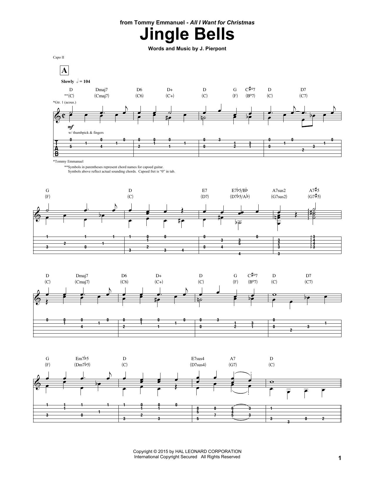 Jingle Bells Tablature Guitare Par Tommy Emmanuel Tablature Guitare