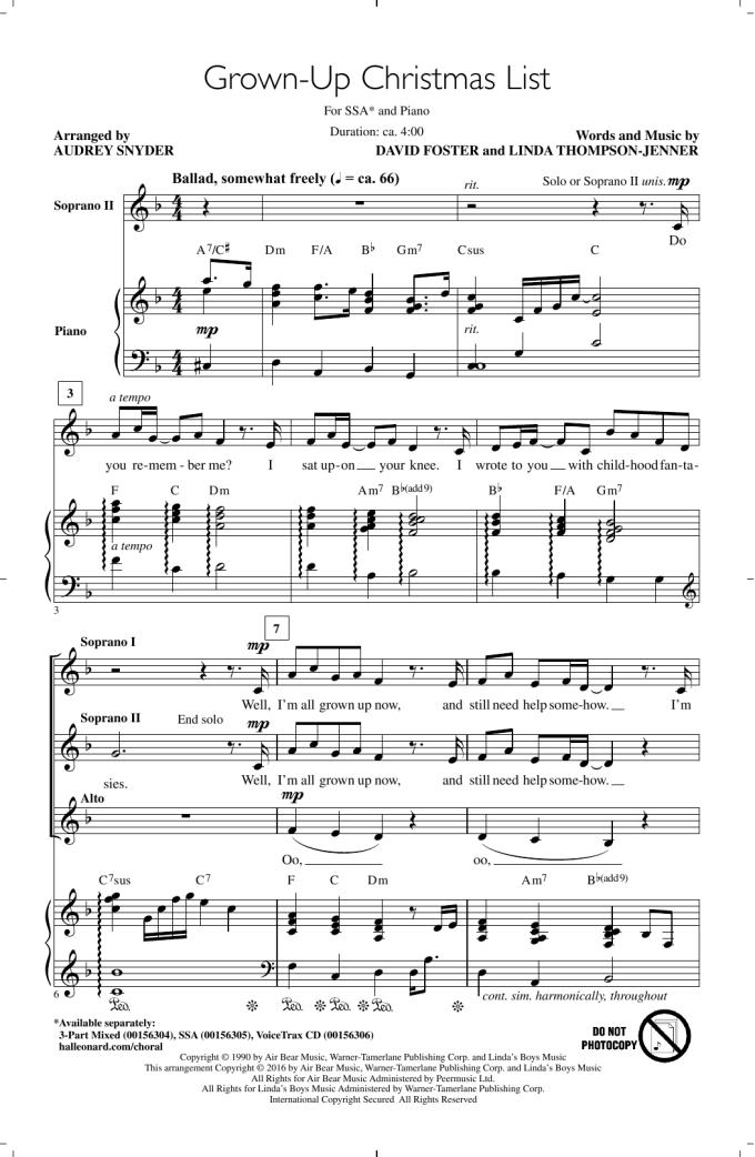My Grown Up Christmas List Piano Sheet Music Pdf | Christmaswalls.co