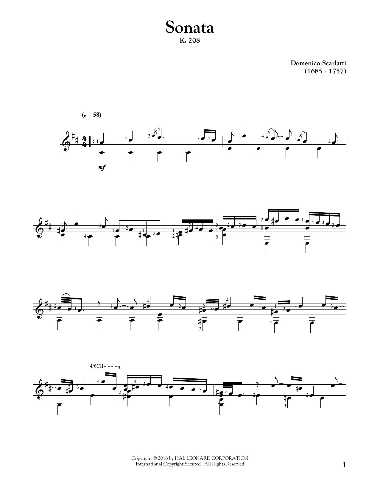 Sonata In G Major K 208 By Domenico Scarlatti