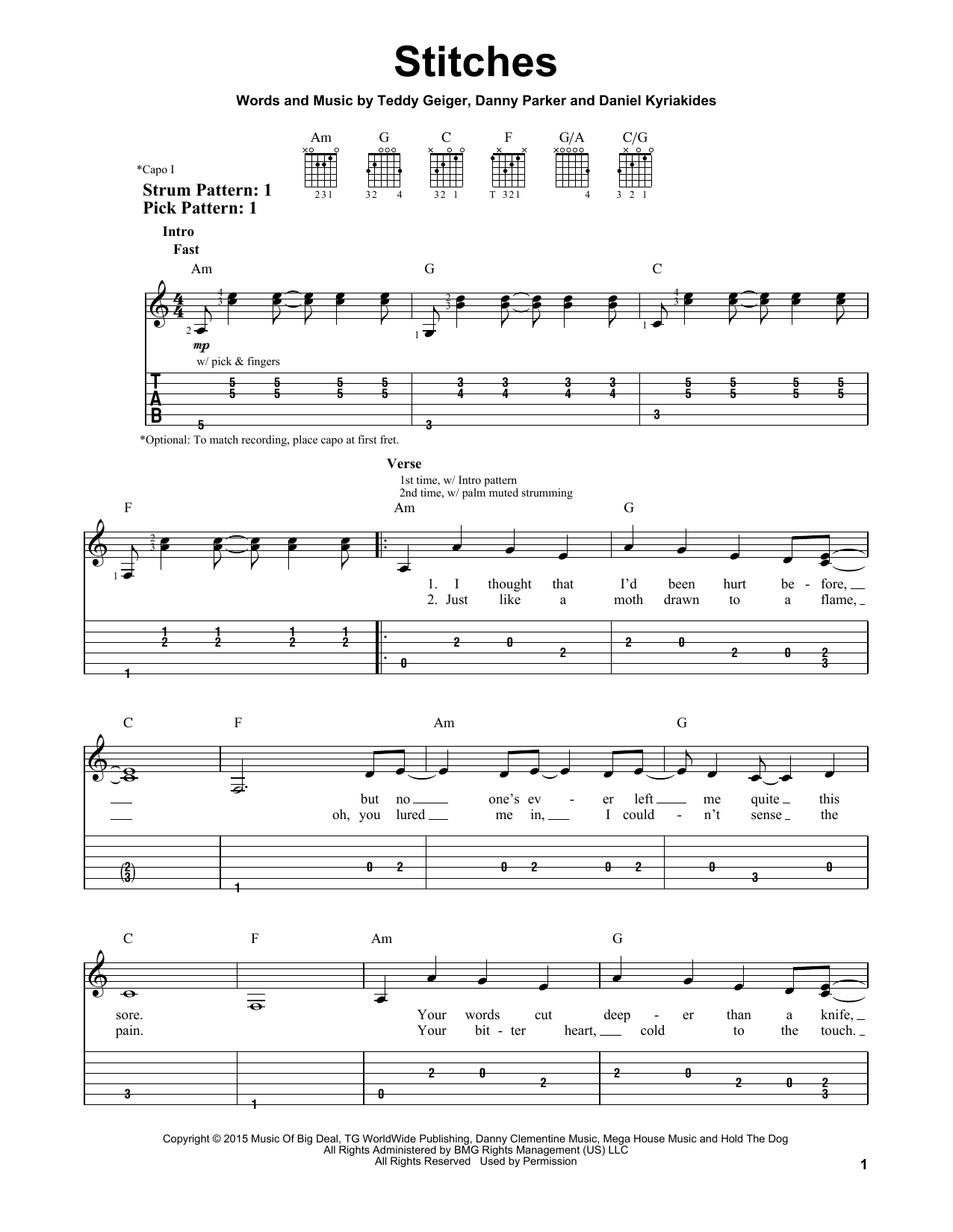 Stitches Sheet Music By Shawn Mendes Easy Guitar Tab