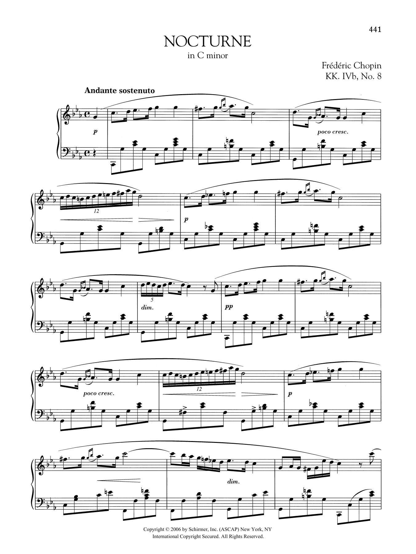 Nocturne In C Minor Kk Ivb No 8 At Stanton S Sheet Music