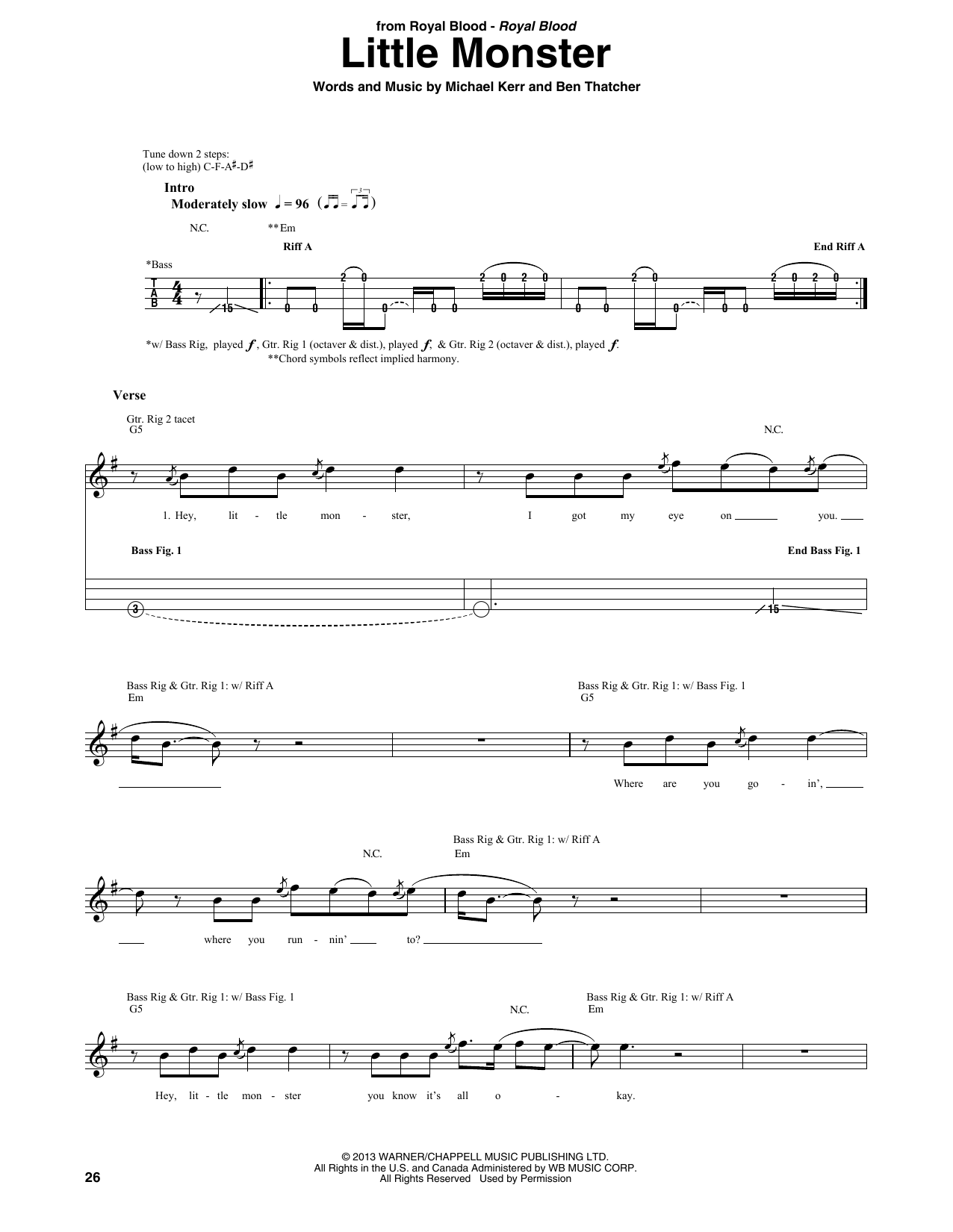 Royal Blood Lights Out Guitar Tab