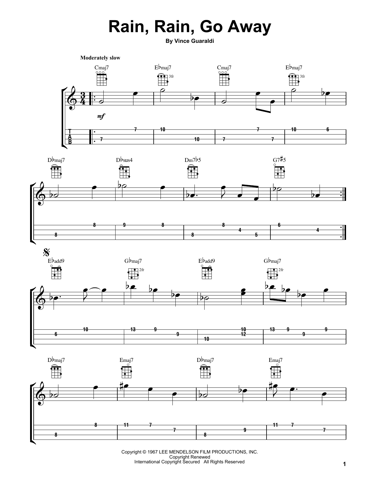 Rain Rain Go Away Sheet Music By Vince Guaraldi Ukulele