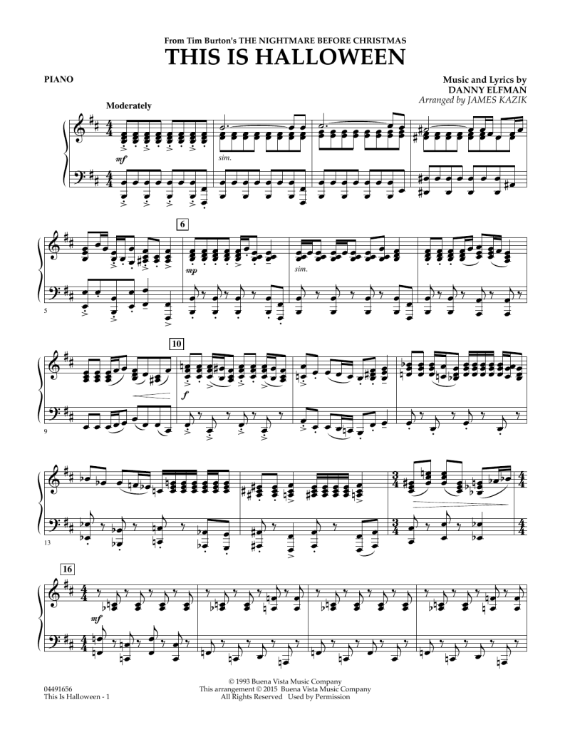 The Nightmare Before Christmas This Is Halloween Piano Sheet Music ...