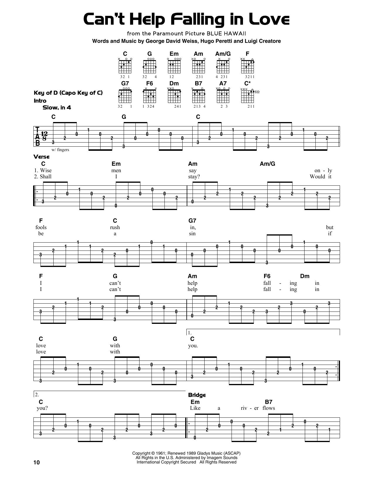 Can T Help Falling In Love Sheet Music By Elvis Presley Guitar Lead Sheet