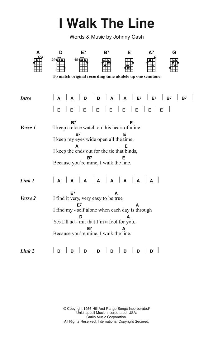 I Walk The Line Sheet Music Johnny Cash Ukulele ChordsLyrics