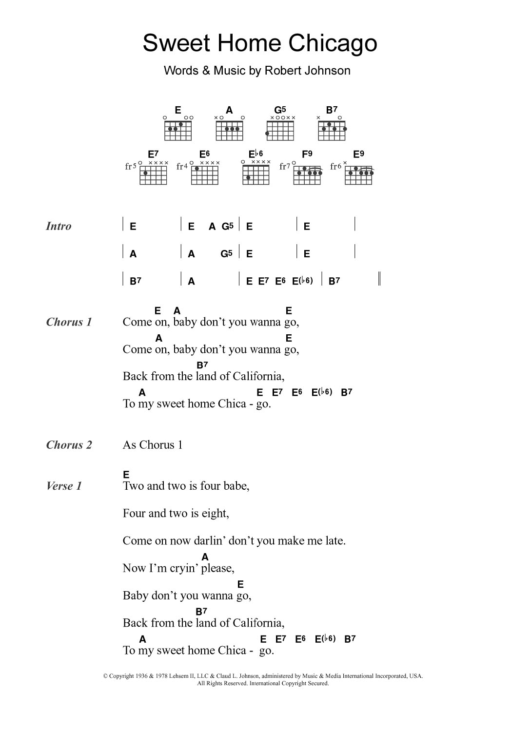 The complete file contains a lesson video, a performance play thru video, full tabs, chords and lyrics. Sweet Home Chicago By Eric Clapton Guitar Chords Lyrics Guitar Instructor