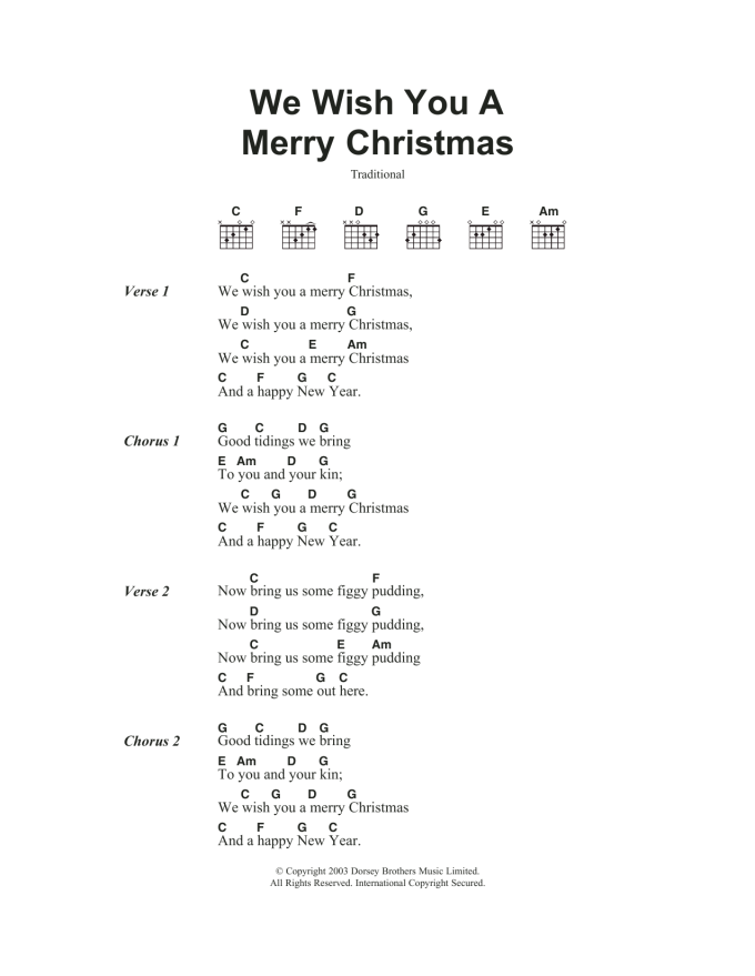 We Wish You A Merry Christmas Guitar Chords For Beginners