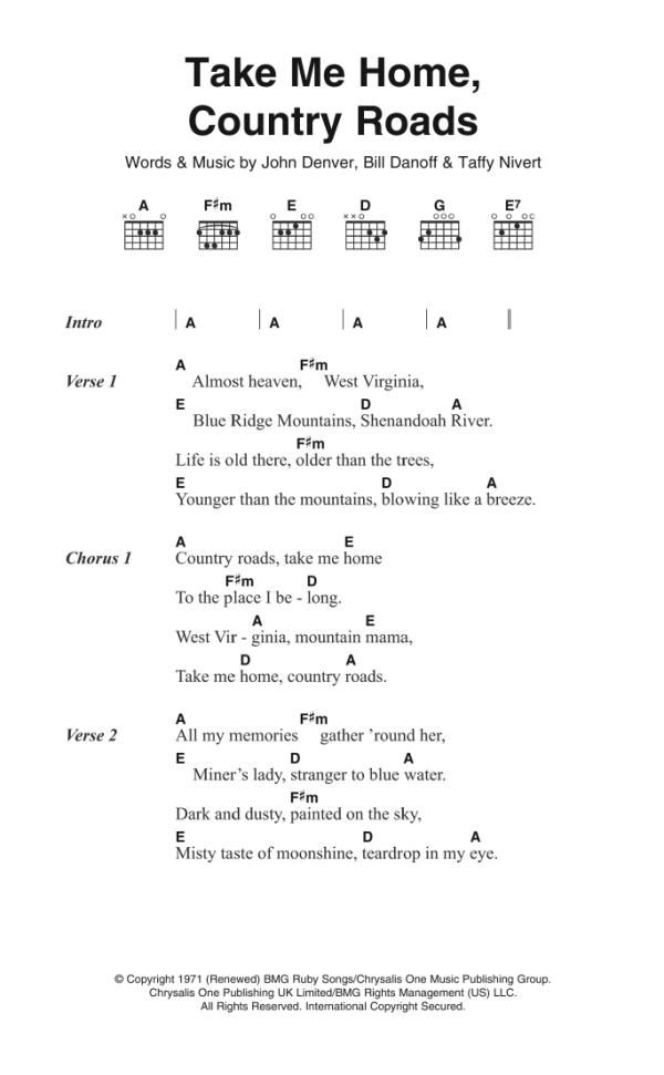 Take Me Home Country Roads Sheet Music John Denver