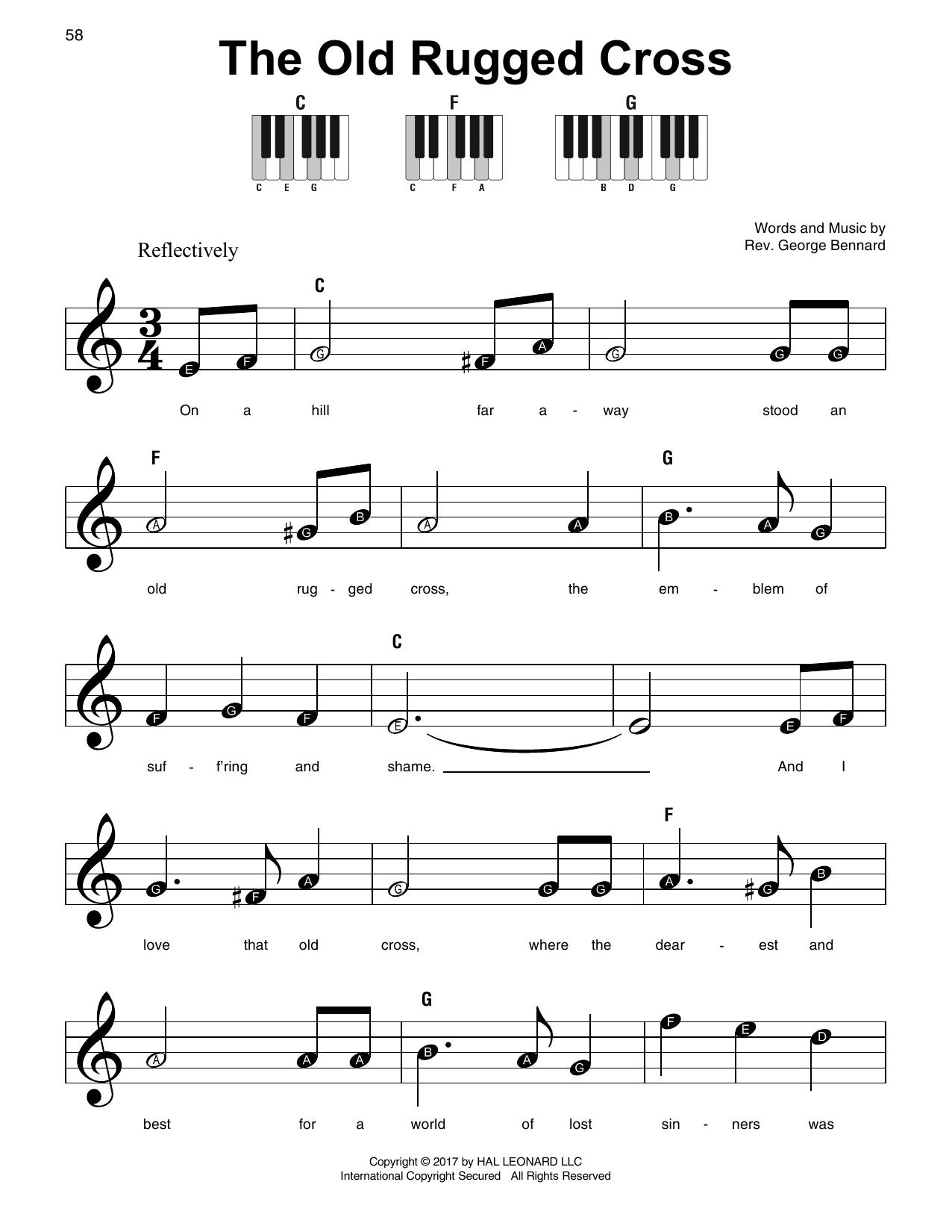 Old Rugged Cross Piano Sheet Music With Lyrics