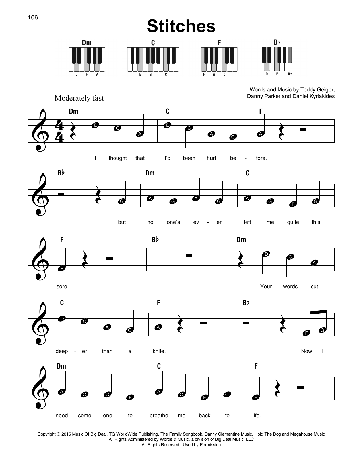 Stitches Sheet Music By Shawn Mendes Super Easy Piano