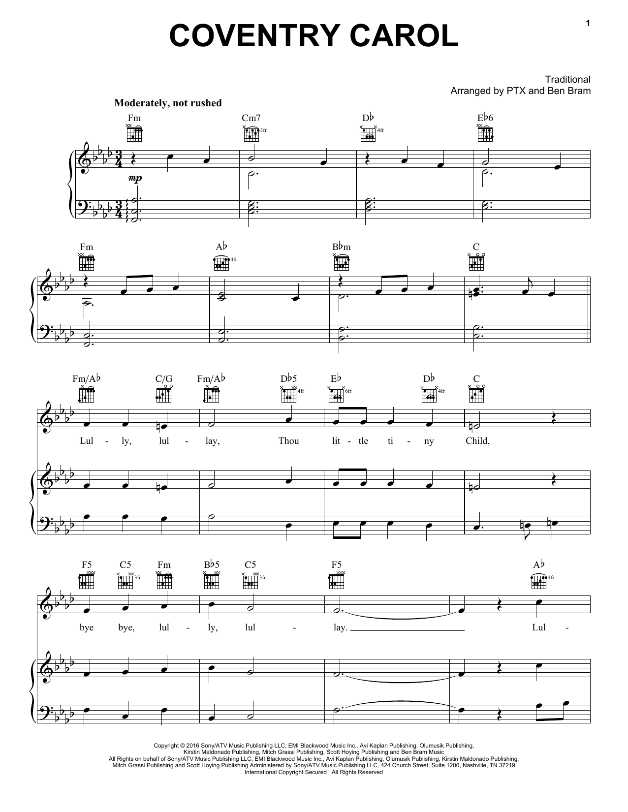 Pentatonix Coventry Carol Sheet Music