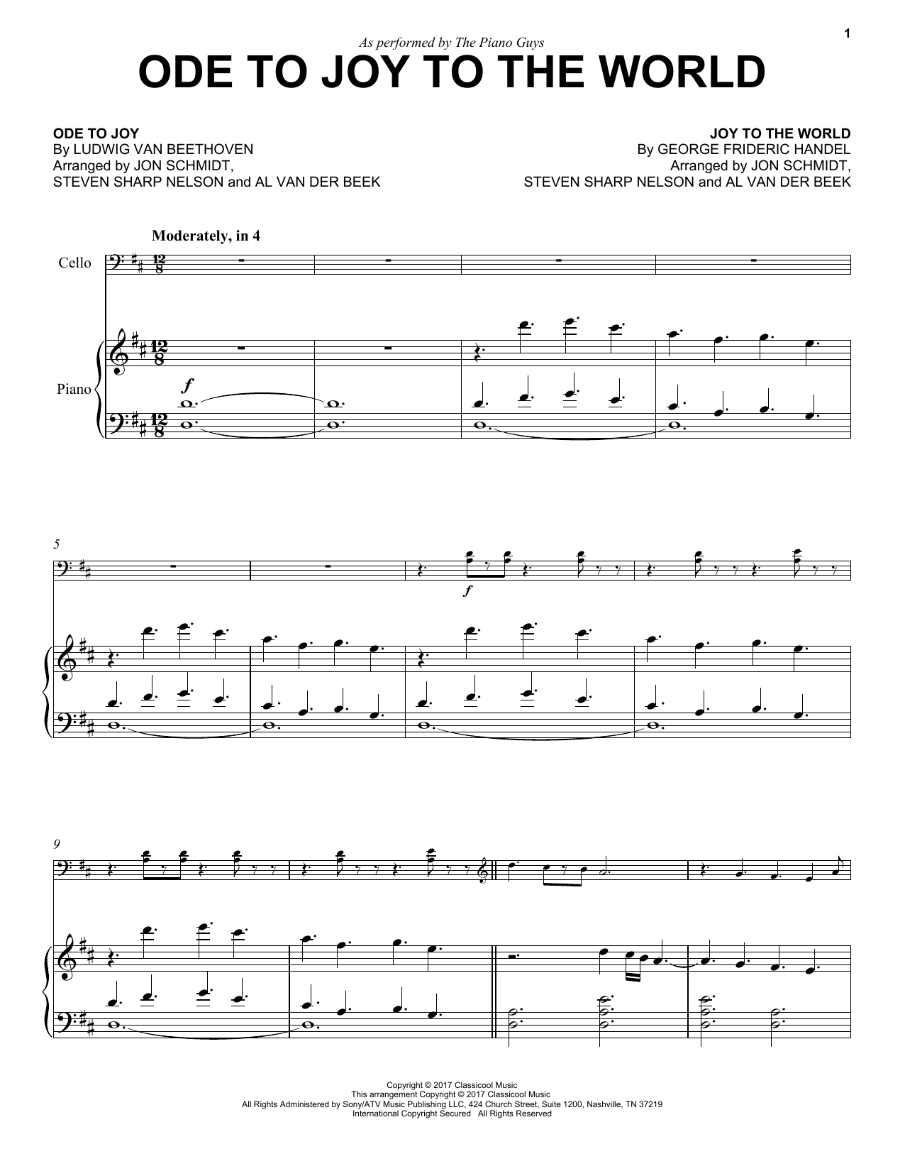 Ode To Joy To The World Sheet Music
