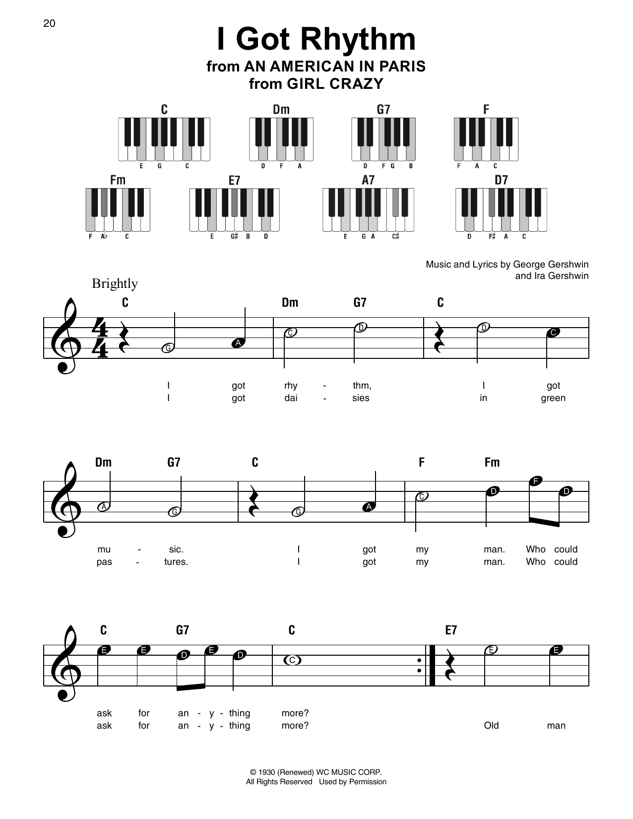 Partition Piano I Got Rhythm De George Gershwin