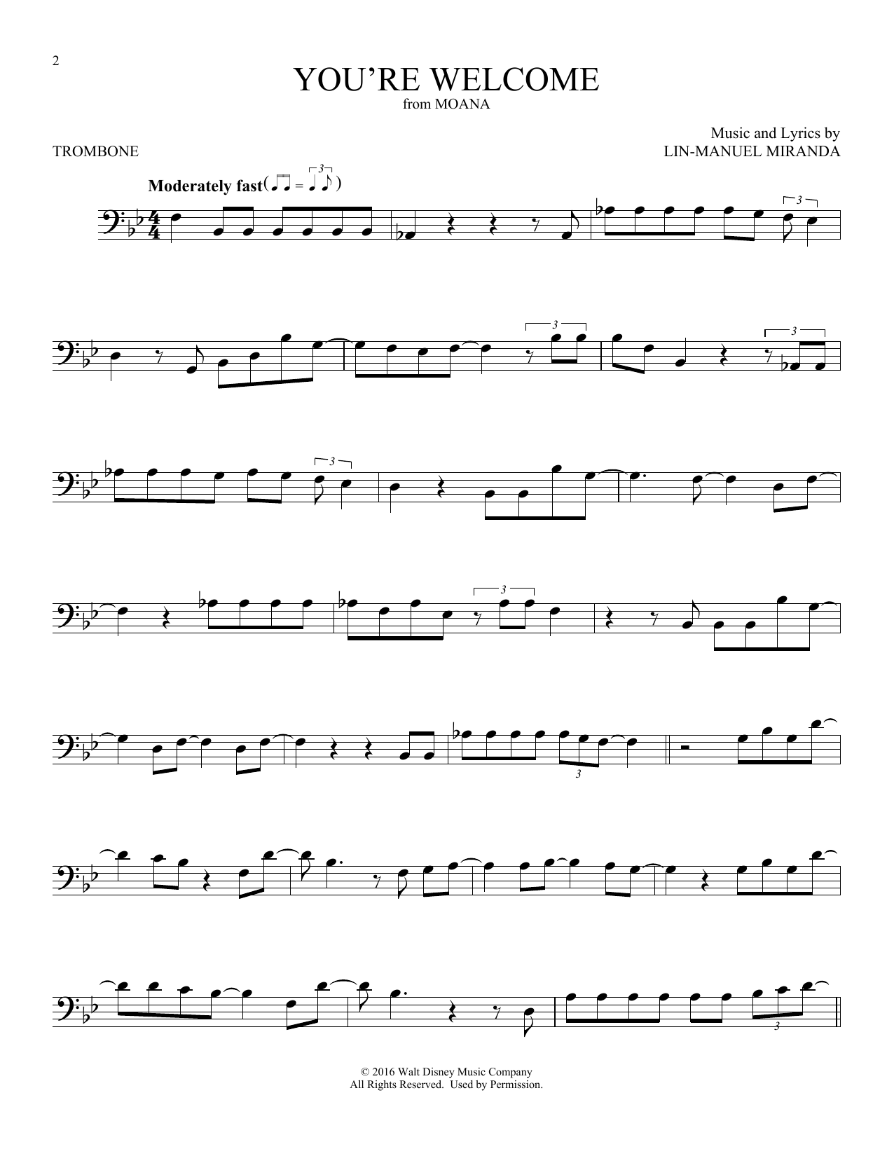 You Re Welcome From Moana Sheet Music