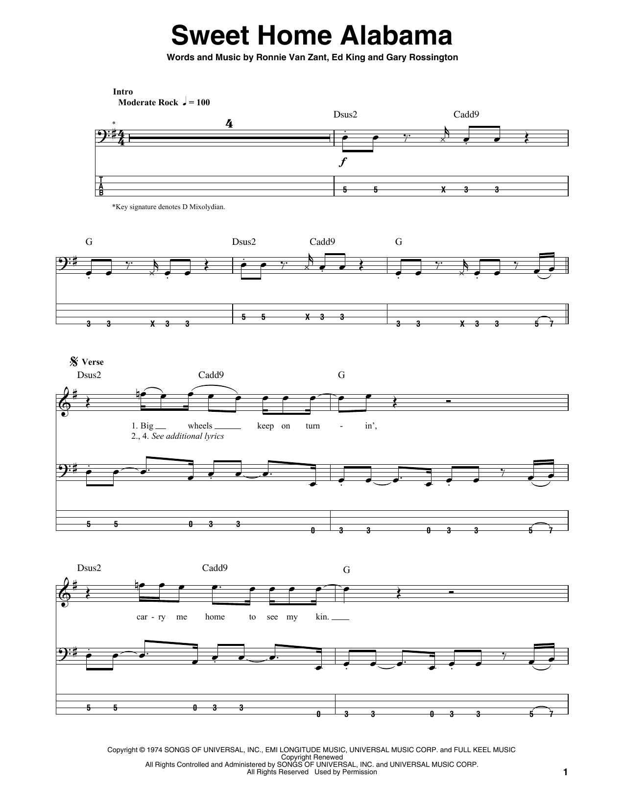 I bet you didn't know, it's the c chord that is most important when soloing to sweet home alabama. Sweet Home Alabama Sheet Music Lynyrd Skynyrd Bass Guitar Tab