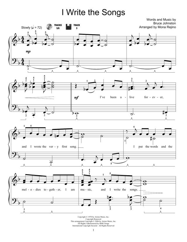 I Write The Songs Noten  Mona Rejino  Lehrmaterial für Piano