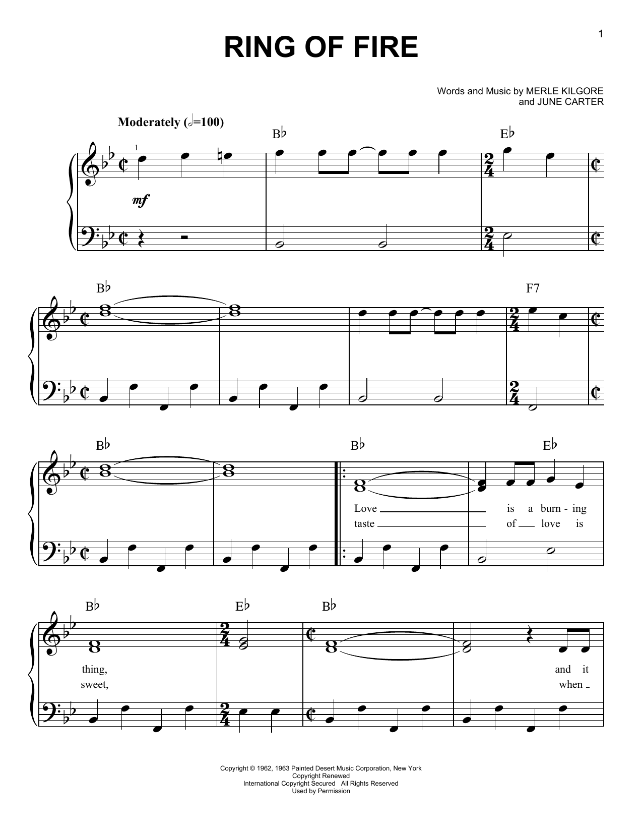 Ring Of Fire Sheet Music By Johnny Cash Easy Piano