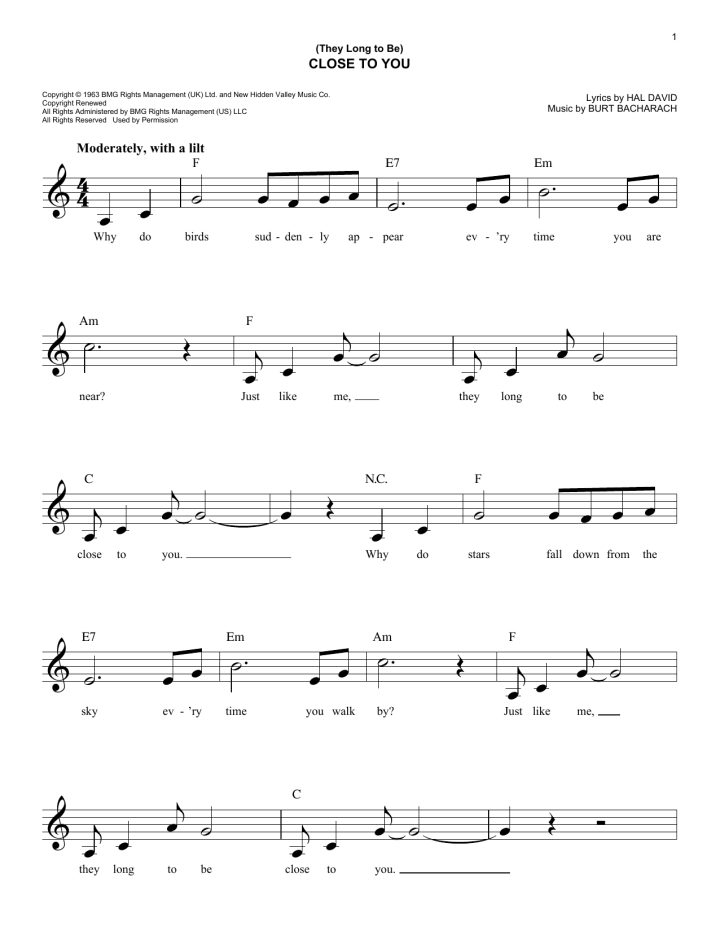 The Carpenters Close To You Chords Carsjp