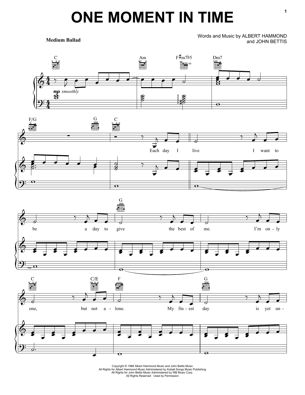One Moment In Time Sheet Music
