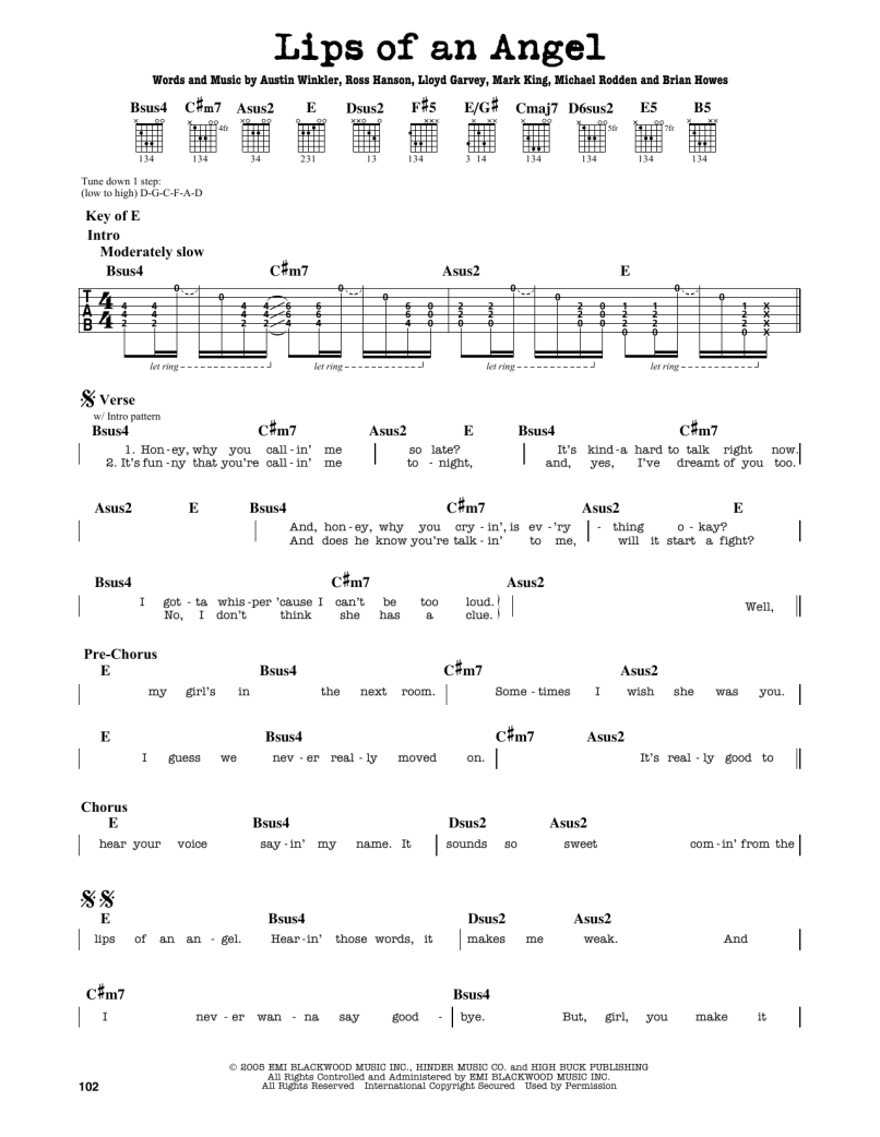 Lips Of An Angel Acoustic Guitar Chords Lipsviews