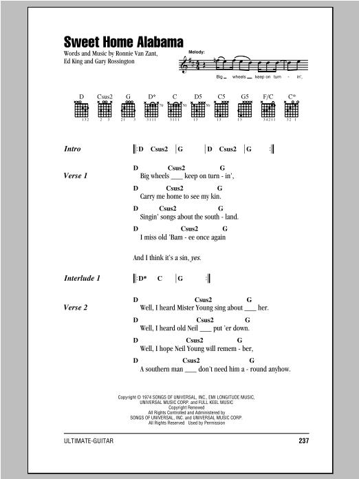 One accurate tab per song. Sweet Home Alabama Sheet Music Lynyrd Skynyrd Guitar Chords Lyrics