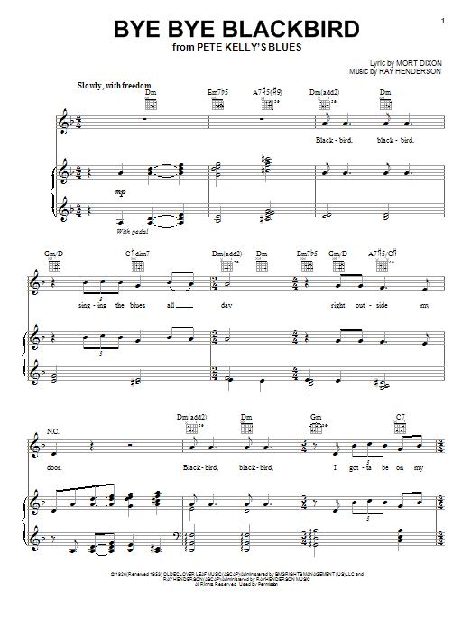 Bye Bye Blackbird Sheet Music Direct