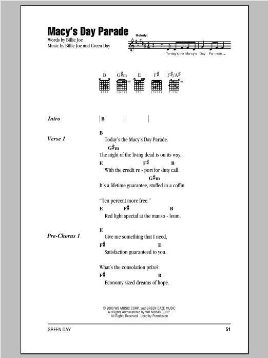 Macys Day Parade Sheet Music Green Day Guitar ChordsLyrics