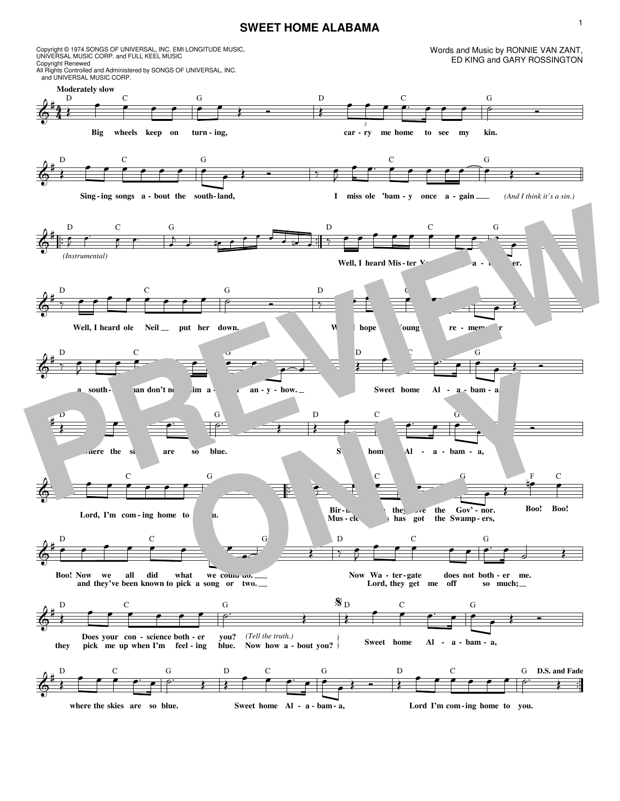 Form a c chord, then pick the single strings a a b/g. Sweet Home Alabama Lead Sheet Fake Book Print Sheet Music Now