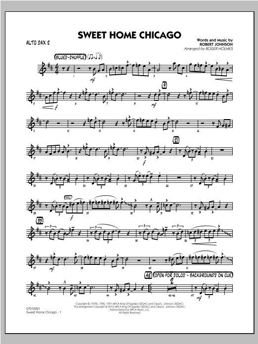 Print out your sheet music of sweet home chicago for solo instrument (saxophone, trumpet, clarinet, flute,.) and enjoy playing a piece by the blues. Sweet Home Chicago