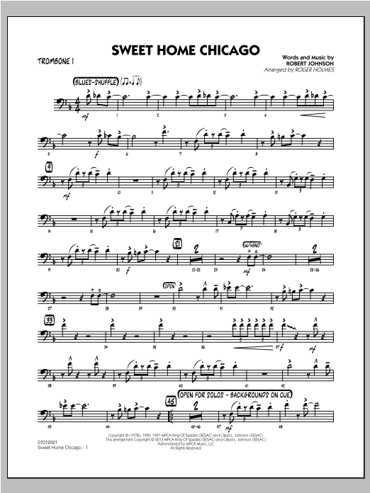 Chicago in the 1920s was a melting pot for jazz and blues, a … Sweet Home Chicago Trombone 1 Sheet Music Roger Holmes Jazz Ensemble